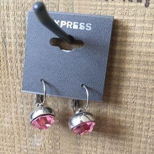 Express Pink Crystal & Silver Dangle Earrings